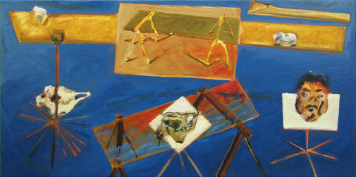 Studie Dreitafel 1988 - 2015 #2 Ölfarbe 48 x 95 cm