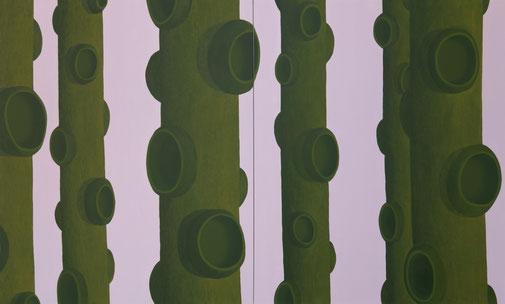 Pia Krajewski, oT (Wald) 2020, oil on canvas, 180x300cm