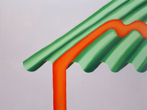 Pia Krajewski, oT (Wellblech) 2018, oil on canvas, 150x200cm
