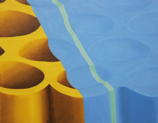 Pia Krajewski, oT (Röhren) 2019, oil on canvas, 80x100cm