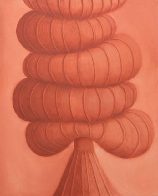 Pia Krajewski, oT (Tower) (grown 2) 2021, oil on canvas, 150x120cm