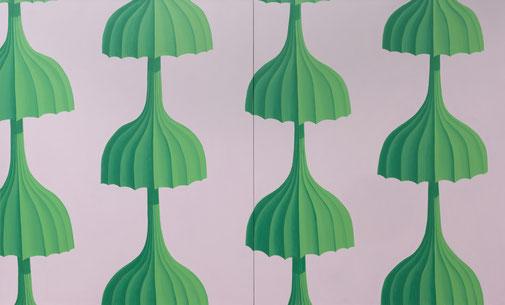 Pia Krajewski, oT (Schirme) 2020, oil on canvas, 180x300cm