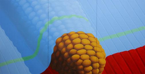 Pia Krajewski, oT (Mais) 2019, oil on canvas, 230x450cm