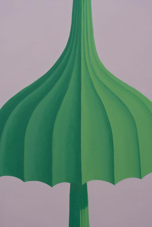 Pia Krajewski, detail, oT (Schirme) 2020, oil on canvas, 180x300cm