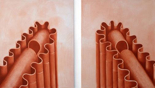 Pia Krajewski, oT (Sweets), oil on canvas, dyptic 2x 180x150cm