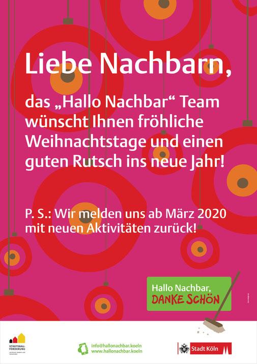 """Poster """"Hallo Nachbar, Danke schön"""" Weihnachts und Neujahresgruß"""