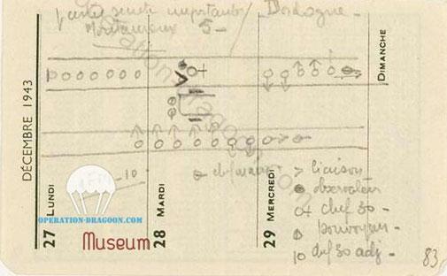 Petit plan secret retrouvé par la gestapo extrait du carnet de G. Cisson.