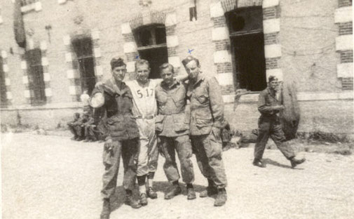 PFC Walter J. Jack Graham (right), Hq Company 1st Battalion, in front of the french barracks in Peira Cava.