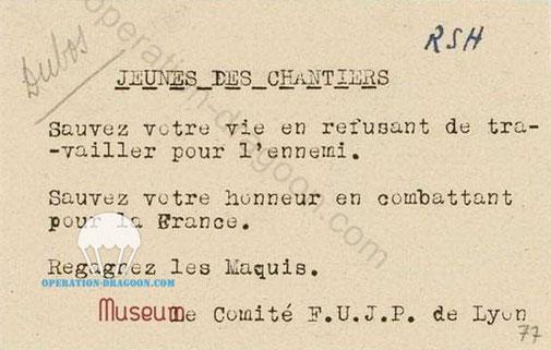 """Documents retrouvés par la Gestapo au Domicile de """"Dubos"""" G. Cisson"""