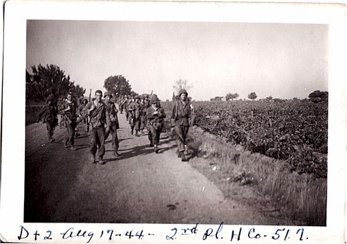 H Company, 3rd Battalion moving towards the drop zones. 17/08/1944