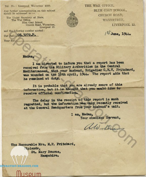 Letter from the war office received by his wife Mary PRITCHARD informing about his wounds in service.