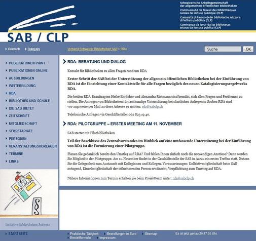 Informationen zu RDA auf der SAB-Homepage