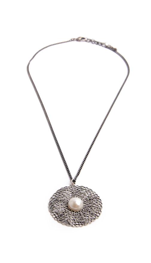 Trachtenkette Collier echt versilbert mit Perle