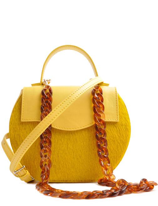 Edle Trachtentasche in aktueller Trendfarbe gelbe . Handgearbeitete Dirndltasche . OSTWALD Traditional Craft