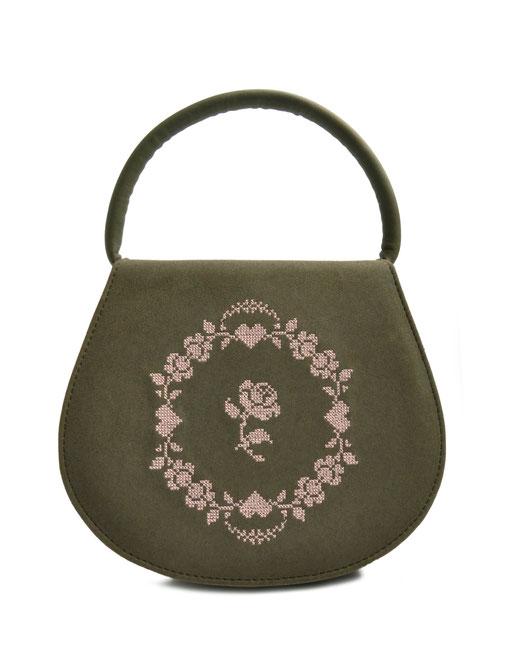 Dirndltasche oliv . Trachtentasche mit Stickerei OSTWALD Traditional Craft