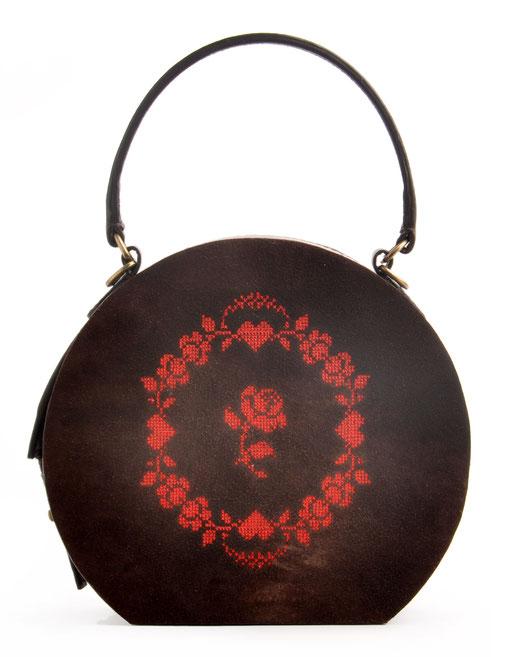 Ledertasche GRETA Vintagestil Leder braun Rosen  OSTWALD Traditional Craft