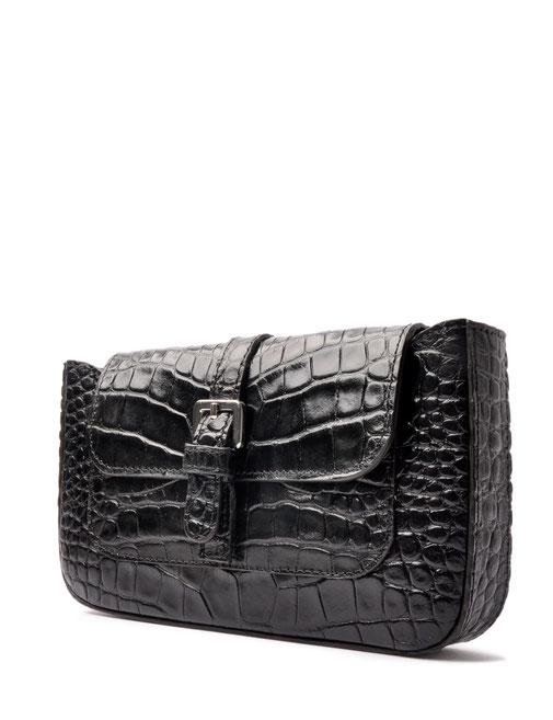 Clutch schwarz Leder Krokooptik . OSTWALD Traditional Craft
