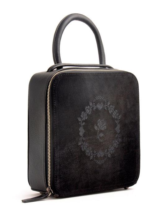 Tracht Tasche Handarbeit Leder schwarz OSTWALD Traditional Craft