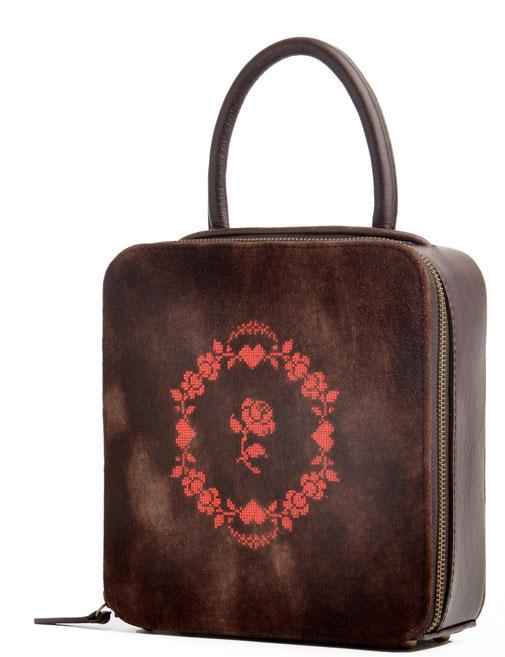 edle Trachtentasche AMELIE braun Leder Rosenstick  Handarbeit OSTWALD Traditional Craft