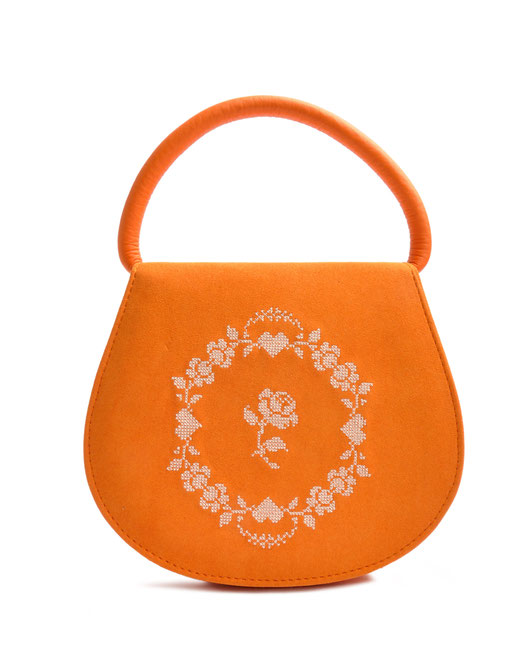 Edle Dirndltasche Leder orange mit Stickerei OSTWALD Traditional Craft