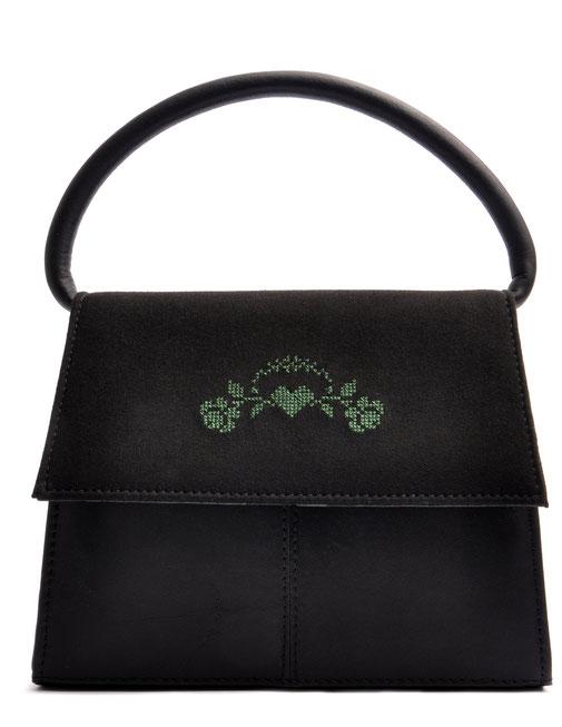 Trachtentasche  Leder schwarz mit Rosenstick . OSTWALD Traditional Craft