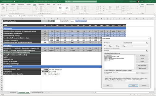 Losgrößenoptimierung mit Excel