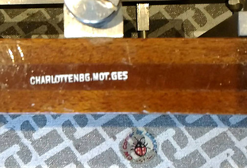 Particular of factory mark.  CHARLOTTENBURG MOTOR GES.