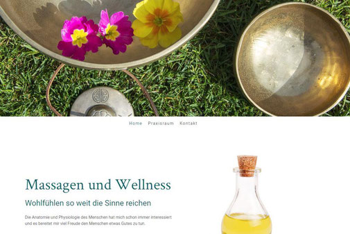Screenshot der Startseite www.erikazberg.ch, Massagen und Wellness in Steinen/Schweiz