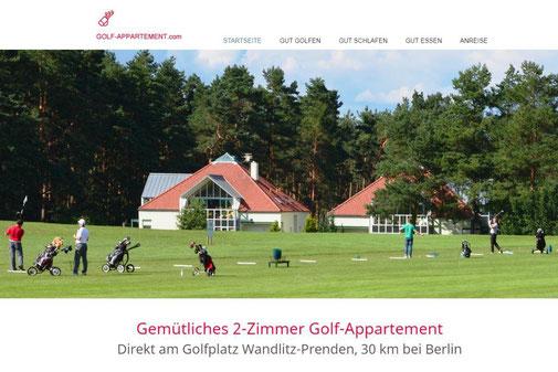 Startseite von www.golf-appartement.com, 2-Zimmer-Ferienwohnung am Golfplatz Wandlitz Prenden