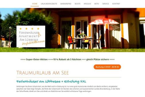 Screenshot der Internetseite von Ferienhäuser am Lübbesee www.erholungxxl.de