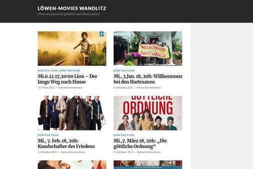 Screenshot der alten Internetseite www.loewenmovies.de