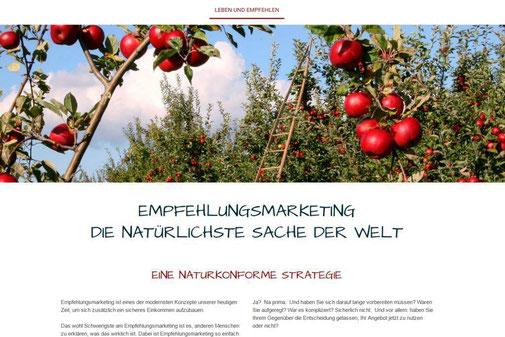 Screenshot der Internetseite von www.lebenundempfehlen.de