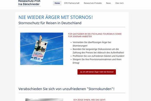 Screenshot von der Startseite www.stornoschutz.com