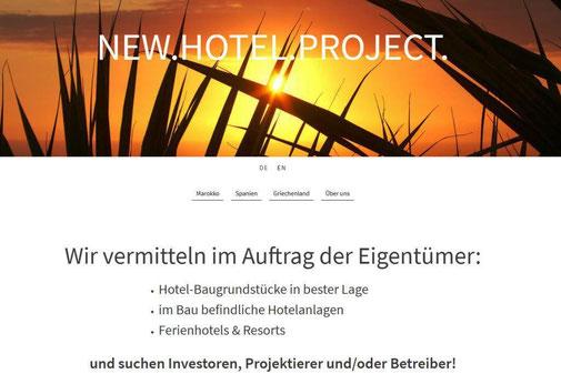 Screenshot der Startseite www.NewHotelProject.com