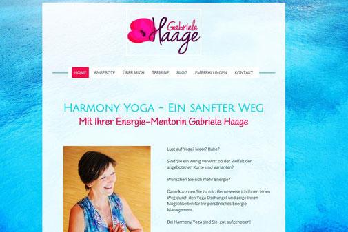 Screenshot der Internetseite von Gabriele Hage www.harmony-yoga.de