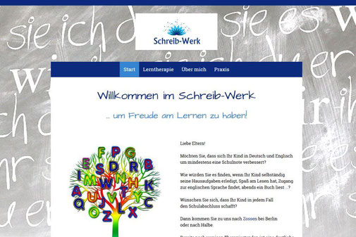 Screenshot der Internetseite von Katja Zelicke vom Schreib-Werk