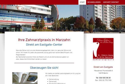 Screenshot der Internetseite von www.zahnarztameastgate.de