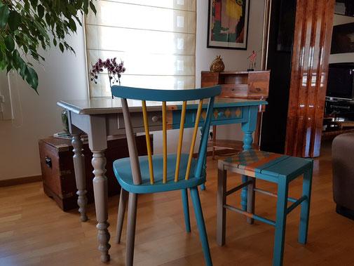 Ensemble bureau chaise et tabouret La Métamorphose du Temps