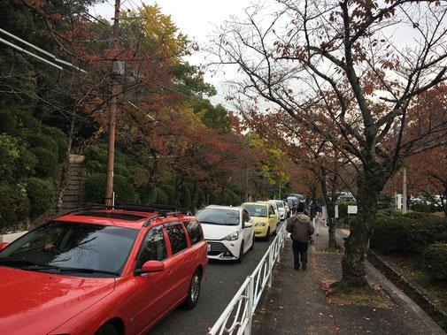駐車場前の大渋滞