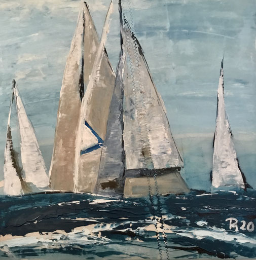 weisse segel mit blauen dreieck segelnd auf Welle mönkemöller