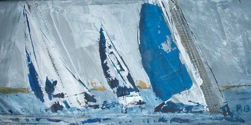 Bild mit Segelbooten Regatta blau - sehr reduziert PM