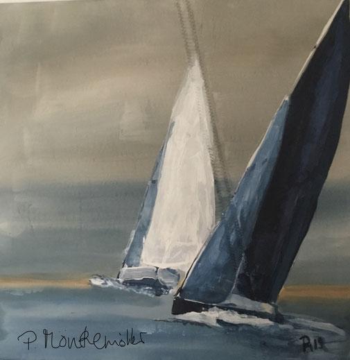 segel in dunkelblau und weiss, maritime Wanddeko mönkemöller