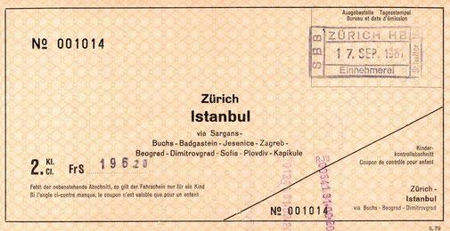 Bahnbillett von Zürich  nach Istanbul