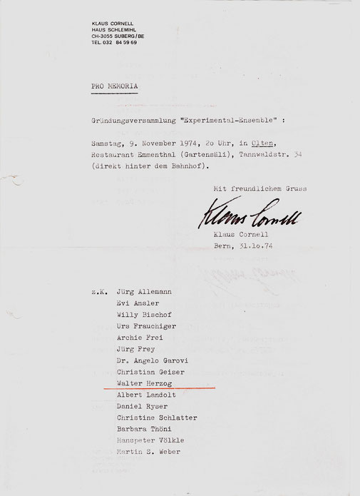 Einladungsschreiben von Klaus Cornell zur Gründung der Open Music Group