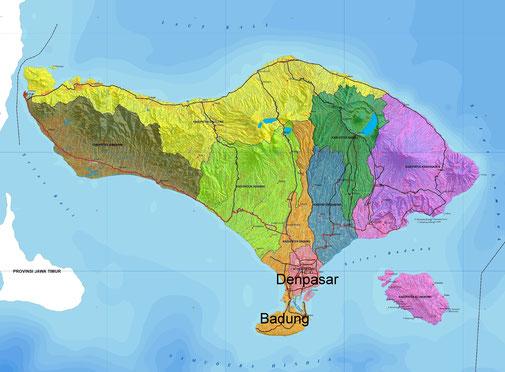 Badung and Denpasar regencies in Bali