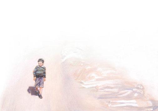 Illustratie bij artikel over een jongen die een kamp overleefde in de 2e wereldoorlog voor programmablad Visie