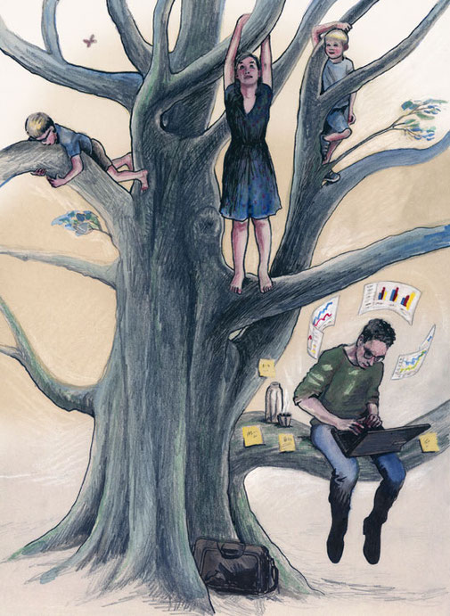 Illustratie bij artikel  over workaholics in Elisabeth Magazine.