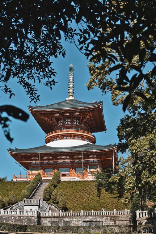 Orangenfarbener Japanischer Tempel