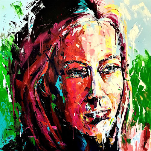 Porträt, Frauenporträt, Acryl, Originalkunst, Unikat, Expressionismus