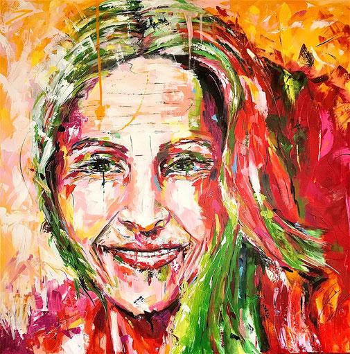 Frau, Porträt, Expressionismus, bunt